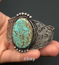 Vtg Fred Harvey Era Navajo #8 Turquoise Sterling Silver Stamped Cuff Bracelet