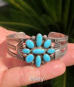 Vtg Fred Harvey Era Navajo Blue Kingman Turquoise Sterling Silver Cuff Bracelet