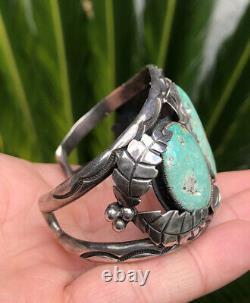 Vtg Fred Harvey Era Navajo Carico Lake Turquoise Sterling Silver Cuff Bracelet