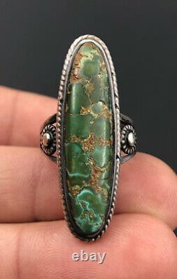 Vtg Fred Harvey Era Navajo Damele Royston Turquoise Sterling Silver Long Ring