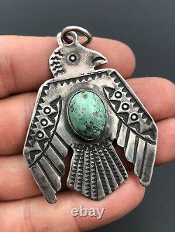 Vtg Fred Harvey Era Navajo Stamped Sterling Silver Turquoise THUNDERBIRD Pendant
