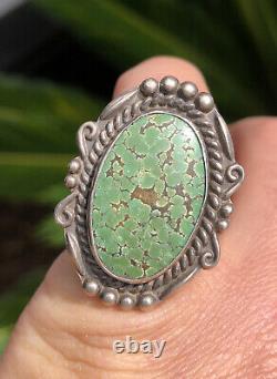 Vtg Fred Harvey Era Navajo Sterling Silver Carico Lake Turquoise Arrow Ring