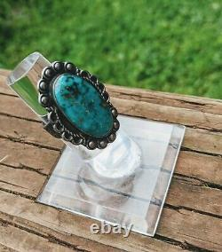 Vtg Fred Harvey Era Navajo Sterling Silver Teal Green Turquoise Ring Size 7