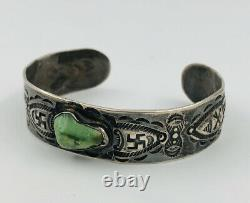 Vtg Fred Harvey Era Navajo Sterling Silver Turquoise Whirling Log Cuff Bracelet
