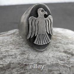 Vtg Fred Harvey Era Navajo Thunderbird Long Huge Handmade Sterling Silver Ring