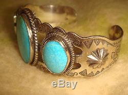 Vtg. Fred Harvey Era Old Pawn Navajo Sterling Silver 3 Turquoise Cuff Bracelet