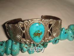 Vtg Fred Harvey Era Old Pawn Navajo Sterling Silver Turquoise Cuff Bracelet Oba