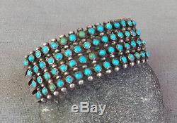 Vtg. Fred Harvey Era Silver 4 Row Snake Eye Petit Point Turquoise Cuff Bracelet