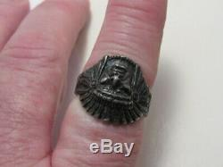 Vtg Fred Harvey Era Stamped Sterling Silver Native American Chief Ring