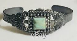 Vtg Fred Harvey Era Sterling Silver 925 Turquoise Cuff Bracelet Horse Dog 6.5
