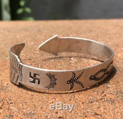 Vtg Fred Harvey Era Sterling Silver Arrow Whirling Log Stamped Cuff Bracelet