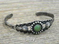 Vtg Fred Harvey Era Sterling Silver Green Turquoise Hand Stamped Cuff Bracelet
