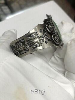 Vtg Fred Harvey Era Sterling Silver Green Turquoise Thunderbird Cuff Bracelet