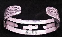 Vtg Fred Harvey Era Sterling Silver Whirling Log ThunderBird Arrow Cuff Bracelet