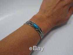Vtg Fred Harvey Era Thunderbird Native American Silver Cuff Turquoise Bracelet