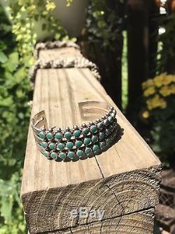 Vtg Fred Harvey Era Triple Row Turquoise Sterling Silver Cuff Bracelet