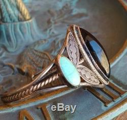 Vtg Fred Harvey Era Turquoise & Onyx Sterling Silver Cuff Bracelet