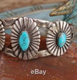 Vtg Fred Harvey Era Turquoise Snake/Arrow Stamped Sterling Silver Bracelet