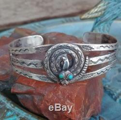 Vtg Fred Harvey Era Turquoise Snake Sterling Silver Cuff Bracelet
