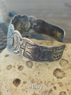 Vtg Fred Harvey Era Turquoise Thunderbirds Sterling Silver Cuff Bracelet