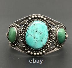 Vtg Fred Harvey Navajo Green Blue Turquoise Sterling Silver Arrow Cuff Bracelet