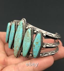 Vtg Fred Harvey Navajo Nevada Turquoise Sterling Silver Stamped Cuff Bracelet
