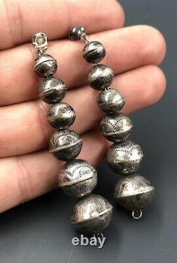 Vtg Fred Harvey Navajo Sterling Silver Stamped Bench Bead Pearls Dangle Earrings