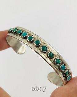 Vtg Fred Harvey Navajo Sterling Silver Stamped Cerrillos Turquoise Cuff Bracelet