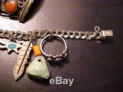 Vtg Fred Harvey Navajo Zuni sterling silver turquoise charms bracelets ring lot