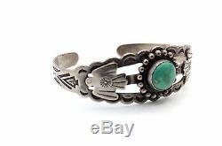 Vtg NAVAJO Modernist FRED HARVEY ERA Sterling Silver THUNDERBIRD Cuff Bracelet
