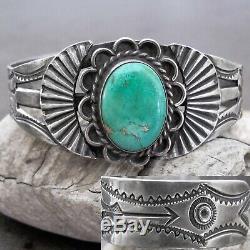 Vtg Navajo Fred Harvey Era Large Green Turquoise Sterling Silver Cuff Bracelet