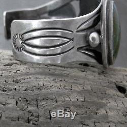 Vtg Navajo Fred Harvey Era Large Variscite Wide Sterling Silver Cuff Bracelet