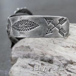 Vtg Navajo Fred Harvey Era Petrified Wood Stamped Sterling Silver Cuff Bracelet