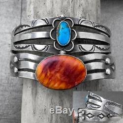 Vtg Navajo Fred Harvey Era Spiny Oyster Turquoise Sterling Silver Bracelet LOT