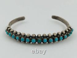 Vtg Navajo Fred Harvey Era Sterling Silver Petit Point Turquoise Cuff Bracelet