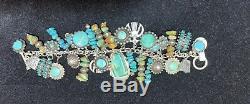 Vtg Navajo Fred Harvey Era Thunderbird Turquoise Sterling Silver Charm Bracelet