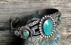 Vtg Navajo Fred Harvey Era Turquoise Cuff Bracelet Thunderbirds Stamped
