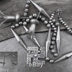 Vtg Navajo Fred Harvey Era Whirling Log Squash Blossom Sterling Silver Necklace