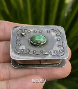 Vtg Navajo Fred Harvey era Sterling Silver Stamped & Damele Turquoise Pill Box