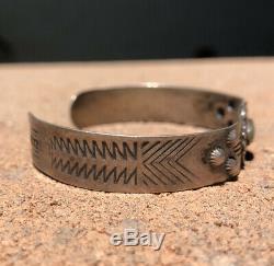 Vtg Old Fred Harvey Era Navajo Sterling Silver Cerrillos Turquoise Cuff Bracelet