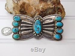 Vtg Old Fred Harvey Era TURQUOISE Repousse Coin Sterling Silver Butterfly Pin