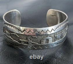 Vtg Old Pawn NAVAJO Pueblo Mesa Storyteller Scene STERLING SILVER Cuff Bracelet