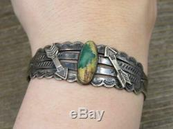 Vtg Old Pawn Navajo Fred Harvey Era Coin Silver Turquoise Arrow Cuff Bracelet