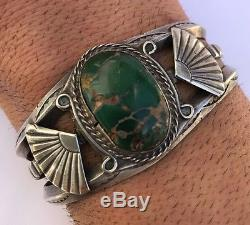 Vtg Old Pawn Navajo Fred Harvey Sterling Silver Royston Turquoise Cuff Bracelet