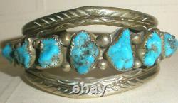 Vtg Old Pawn Navajo Sterling Silver Chunky Turquoise Bracelet Fred Harvey Era
