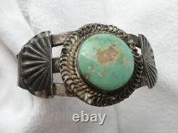 Vtg Old Pawn Silver Fred Harvey Era Navajo Green Turquoise Stamp Cuff Bracelet