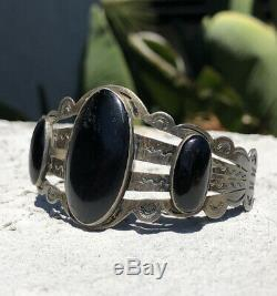 Vtg Pawn Fred Harvey Era Navajo Sterling Silver Black Onyx Jet Cuff Bracelet