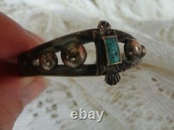 Vtg Silver Fred Harvey Era Navajo Turquoise Thunderbird Snake Stamp Bracelet
