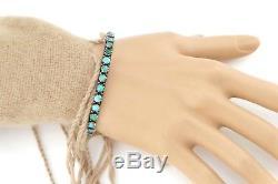 Vtg Sterling Silver Fred Harvey Navajo Snake Eye Turquoise Cuff Bracelet Arrow