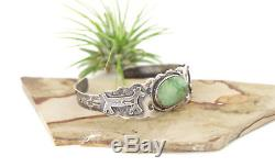 Vtg Sterling Silver Navajo Fred Harvey Era Green Turquoise Horse Cuff Bracelet
